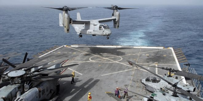 100617-N-3358S-042  U.S. 5TH FLEET AREA OF RESPONSIBILITY (June 17, 2010) An MV-22B Osprey assigned to the Golden Eagles of Marine Medium Tiltrotor Squadron (VMM) 162 lands aboard the amphibious transport dock ship USS Mesa Verde (LPD 19). Mesa Verde is part of the Nassau Amphibious Ready Group supporting maritime security operations and theater security cooperation efforts. (U.S. Navy photo by Mass Communication Specialist 1st Class Steve Smith/Released)