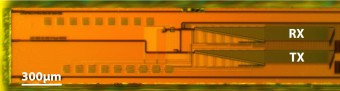 Image: Christopher V. Poulton Optical micrograph shows MIT's solid-state lidar, a 0.5 mm x 6 mm silicon photonic chip with steerable transmitting and receiving phased arrays and on-chip germanium photodetectors.