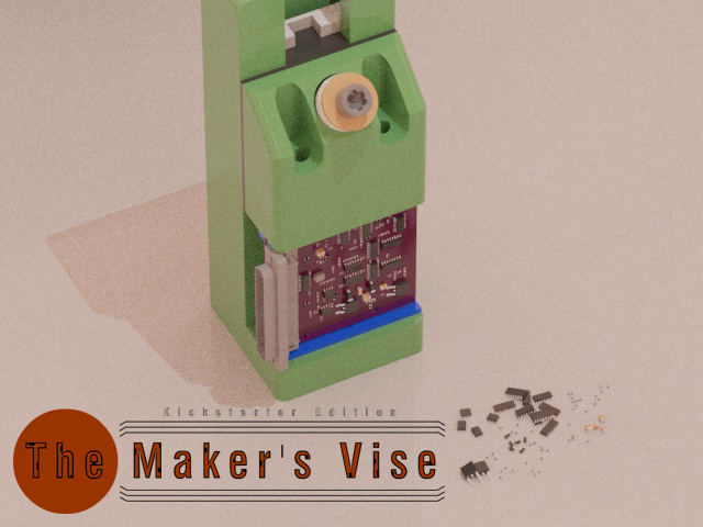 Maker Vise Standing on its face holding a PCB